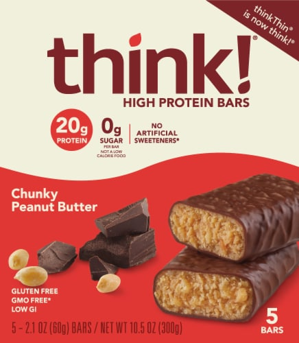 think! Chunky Peanut Butter High Protein Bars Perspective: front