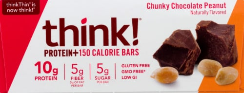 thinkThin Chunky Chocolate Peanut Protein Bars 10 Count Perspective: front