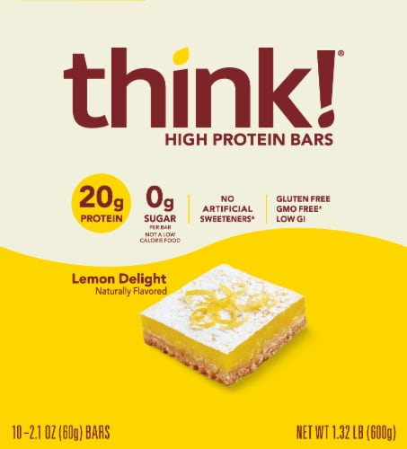 think! Lemon Delight High Protein Bars Perspective: front
