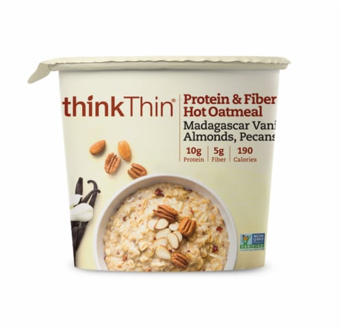 Vanilla Almonds and Pecan Protein and Fiber Hot Oatmeal, 1.76 Ounce Bowl -- 6 per case. Perspective: front