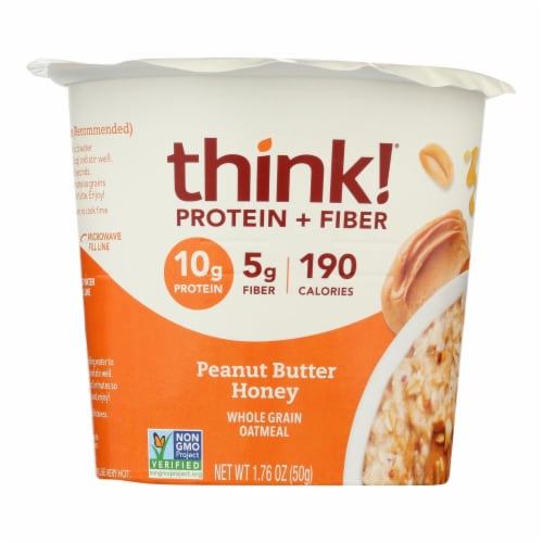 Think! Thin Protein & Fiber Hot Oatmeal - Honey Peanut Butter - Case of 6 - 1.76 oz Perspective: front