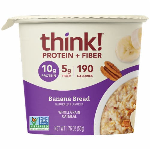 thinkThin Banana Bread Protein & Fiber Whole Grain Oatmeal Perspective: front