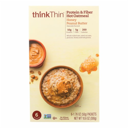 Think! Thin Protein and Fiber Honey Peanut Butter Oatmeal Perspective: front