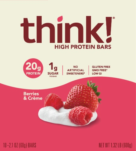 think! Berries & Creme High Protein Bars Perspective: front