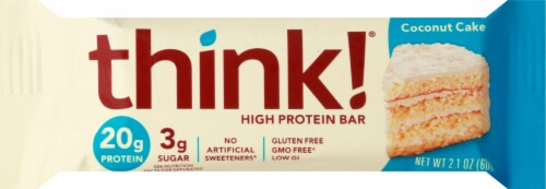 think! Coconut Cake High Protein Bar Perspective: front