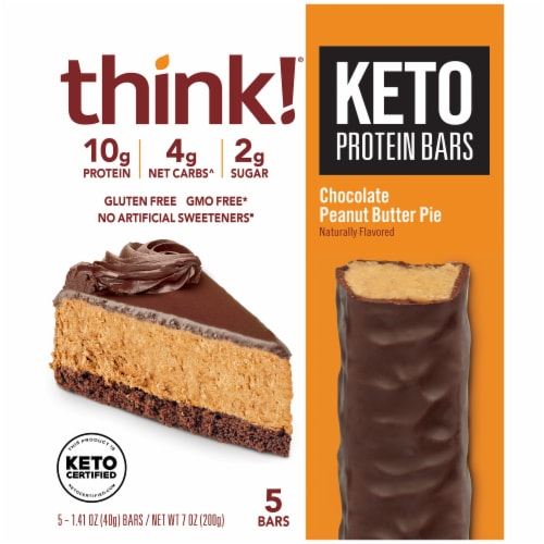 think! Chocolate Peanut Butter Pie Keto Protein Bars Perspective: front