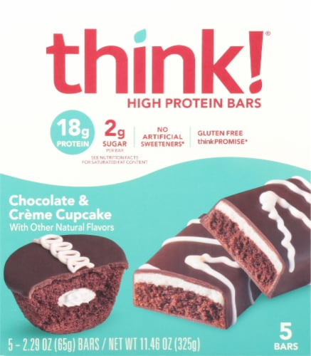 think! Chocolate & Crème Cupcake Gluten Free High Protein Bars Perspective: front