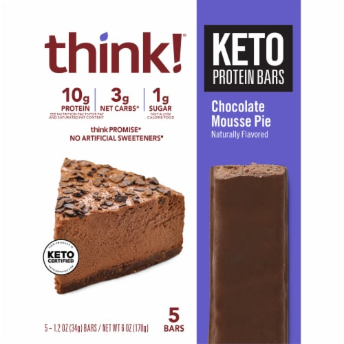 think!® Keto Chocolate Mousse Pie Protein Bars Perspective: front