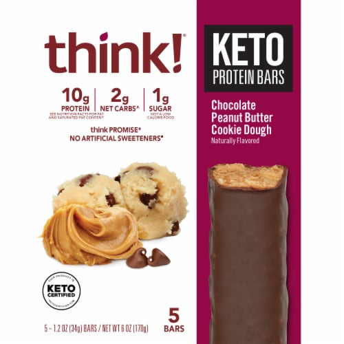 think!® Keto Chocolate Peanut Butter Cookie Dough Protein Bars Perspective: front