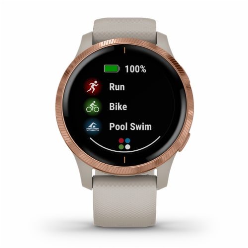 Garmin Venu GPS Smartwatch - Light Sand/Rose Gold Perspective: front