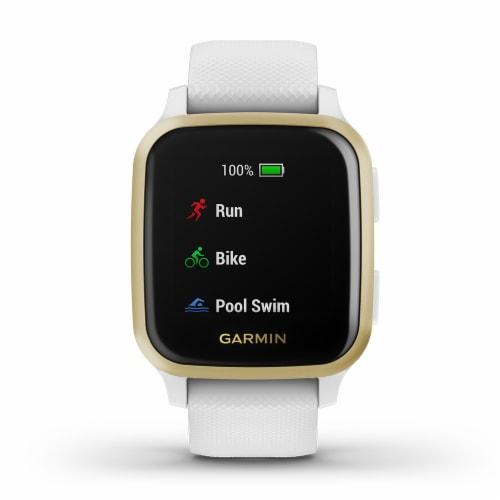 Garmin Venu Sq GPS Smartwatch - Light Gold/White Perspective: front