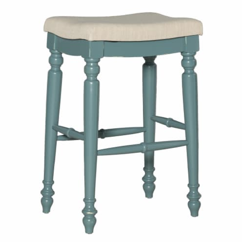 Saltoro Sherpi Saddle Top Wooden Bar Stool with Fabric Upholstery, Blue and Beige Perspective: front