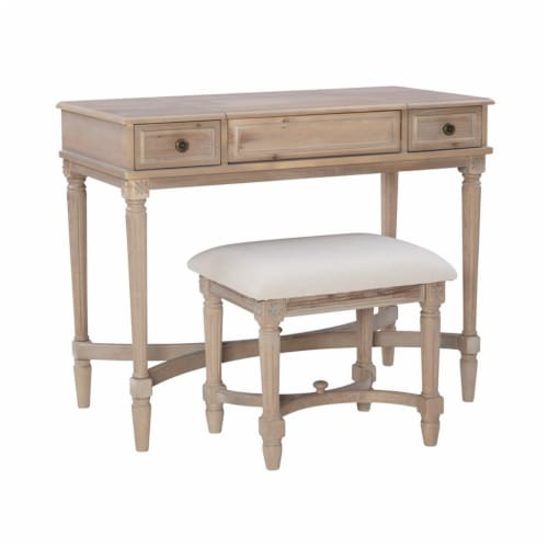 Linon Cyndi Wood Vanity Set in Gray Wash Perspective: front