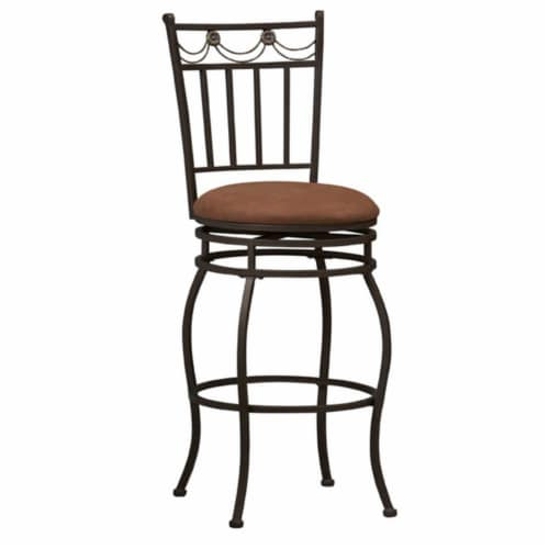 Linon Swag 30  Metal Swivel Bar Stool in Brown Perspective: front