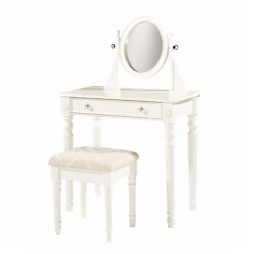 Saltoro Sherpi Wooden Vanity Set with Adjustable Mirror and Drawer, White and Beige Perspective: front