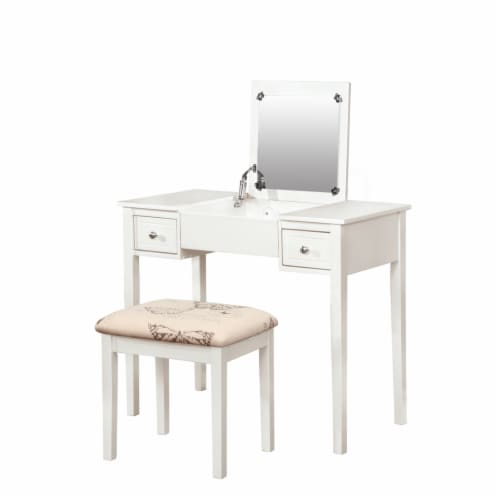Linon Butterfly Wood Vanity and Stool in White Perspective: front