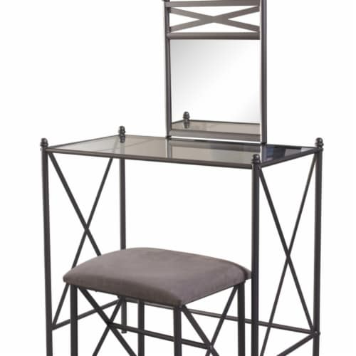 Linon Mission Hills Metal and Glass Vanity Set in Gray Perspective: front