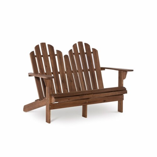 Linon Adirondack Wood Outdoor Double Bench in Acorn Brown Perspective: front