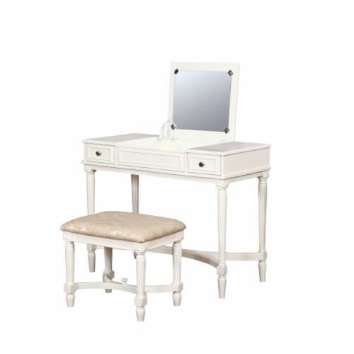 Linon Cyndi Wood Vanity Set in White Perspective: front