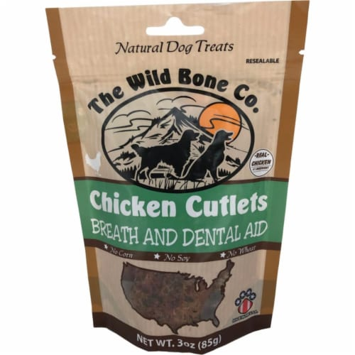 The Wild Bone Company Breath & Dental Aid Chicken Cutlet Dog Treat, 2.75 Oz. Perspective: front