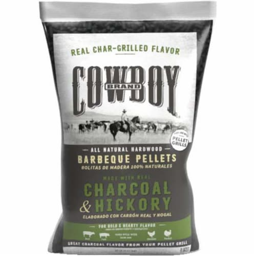 Cowboy Charcoal and Hickory Wood Pellet Fuel 20 lb. - Case Of: 1; Perspective: front