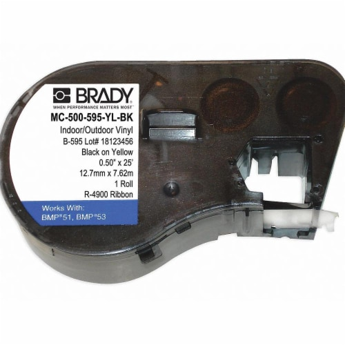 Brady Label Cartridge,Black/Yellow,Vinyl  MC-500-595-YL-BK Perspective: front