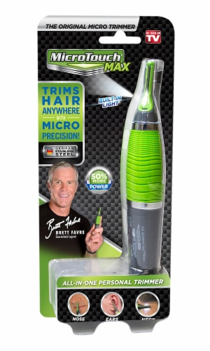 Micro Touch Max All-in-One Personal Trimmer - Gray/Green Perspective: front