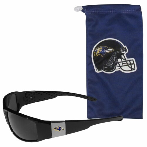 Baltimore Ravens Chrome Wrap Sunglasses and Bag Set Perspective: front