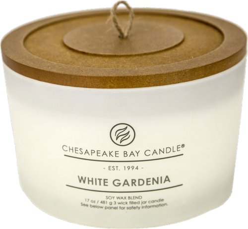 Chesapeake Bay Candle® White Gardenia Coffee Table Jar Candle - White Perspective: front