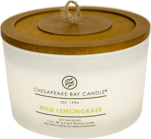Chesapeake Bay Candle® Wild Lemongrass Coffee Table Jar Candle - White Perspective: front