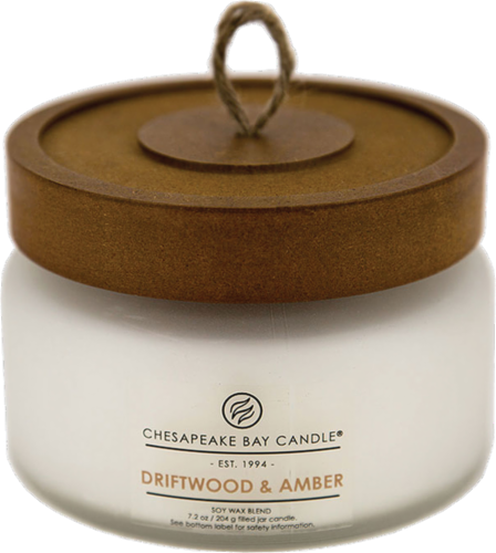 Chesapeake Bay Candle® Driftwood and Amber Coffee Table Jar Candle - White Perspective: front