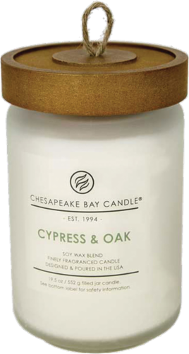 Chesapeake Bay Candle® Cypress and Oak Jar Candle - White Perspective: front