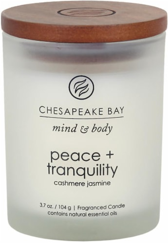 Chesapeake Bay Candle Mind & Body Peace + Tranquility Cashmere Jasmine Fragranced Candle Perspective: front
