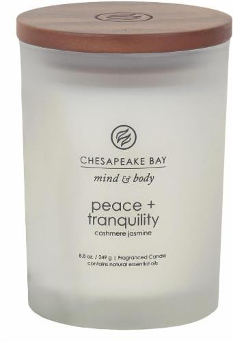 Chesapeake Bay Candle Mind and Body Peace and Tranquility Jar Candle - Frosted White Perspective: front