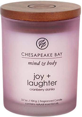 Chesapeake Bay Candle Mind and Body Joy and Laughter Jar Candle - Frosted Pink Perspective: front