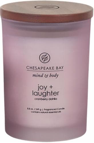 Chesapeake Bay Candle Mind & Body Joy + Laughter Cranberry Dahlia Fragranced Jar Candle Perspective: front