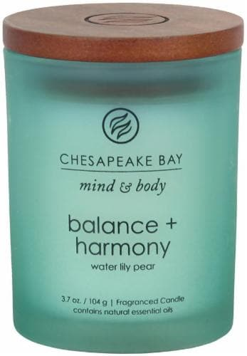 Chesapeake Bay Candle Mind and Body Balance and Harmony Jar Candle - Frosted Turquoise Perspective: front