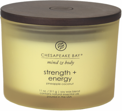 Chesapeake Bay Candle Mind and Body Strength and Energy 3-Wick Jar Candle Perspective: front