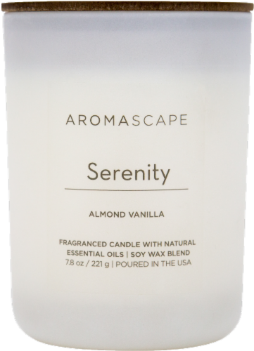 Aromascape Serenity Almond Vanilla Jar Candle - White Perspective: front