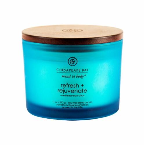 Chesapeake Bay Candle Mind & Body Refresh + Rejuvenate Mediterranean Citrus Jar Candle Perspective: front