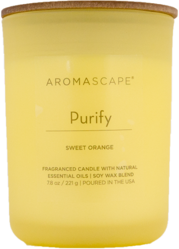 Aromascape Purify Sweet Orange Jar Candle Perspective: front