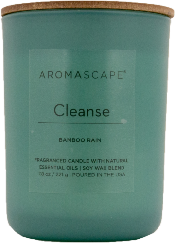 Aromascape Cleanse Bamboo Rain Jar Candle - Green Perspective: front