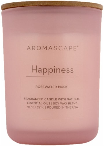 Aromascape Happiness Rosewater Musk Jar Candle - Pink Perspective: front