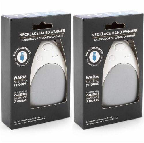 Treva Rechargeable USB Powered Hand Warmer, 2 Pack, Grey Perspective: front