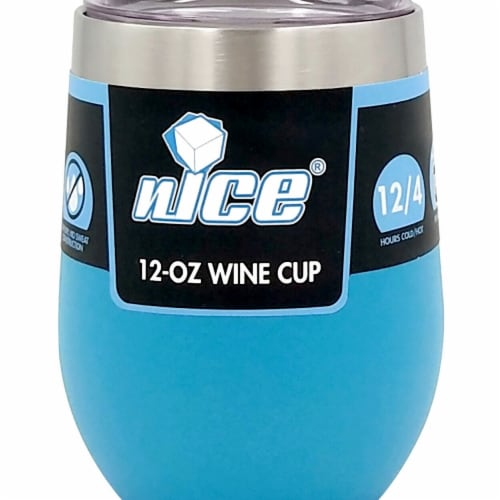 Nice WPF-519534 12 oz Vacuum-Insulated Stainless-Steel Wine Tumbler, Blue Perspective: front