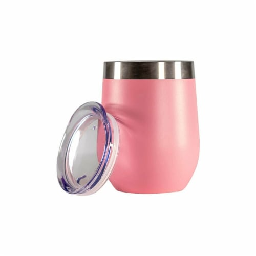 nICE WPF-519572 12 oz Vacuum-Insulated Stainless-Steel Wine Tumbler  Pink Pack of 10 Perspective: front