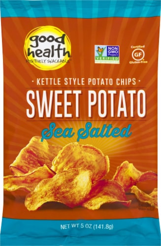 Good Health Kettle Chips Sweet Potato Sea Salt Chips Perspective: front