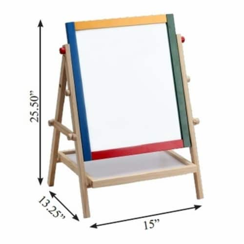 Omni Wooden Toys 969029 Double Sided 2 In 1 Magnetic Art Easel Perspective: front