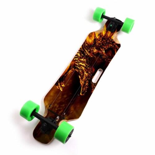 MightySkins BLIHU-Golden Dragon Skin for Blitzart Huracane 38 in. Electric Skateboard - Golde Perspective: front