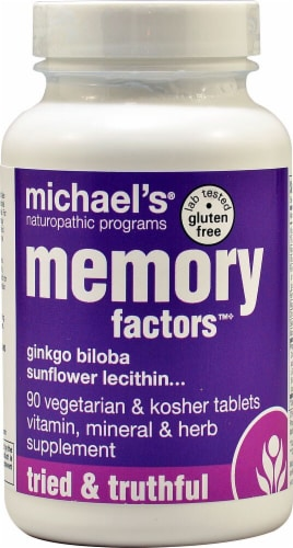 Michael's Naturopathic Programs Memory Factors Tablets Perspective: front